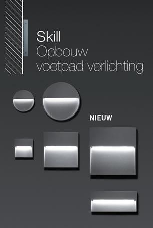deze accessoire is special ontworpen om de technische en de esthetische kenmerken van de skill te combineren tot een wand inbouw verlichtingsarmatuur